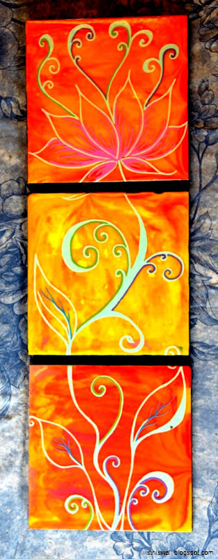 Growing Lotusquot 3 piece acrylic on wood panel   9000 http