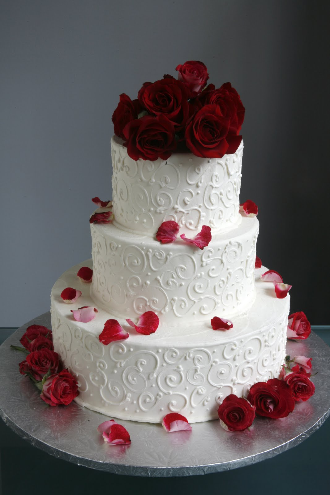 A Simple Cake Wedding Cake with Fresh Flowers From