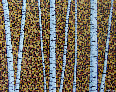 Last Leaves of Autumn, Aaron Kloss, Birch Stand Painting, Vanilla Bean, Two HArbors