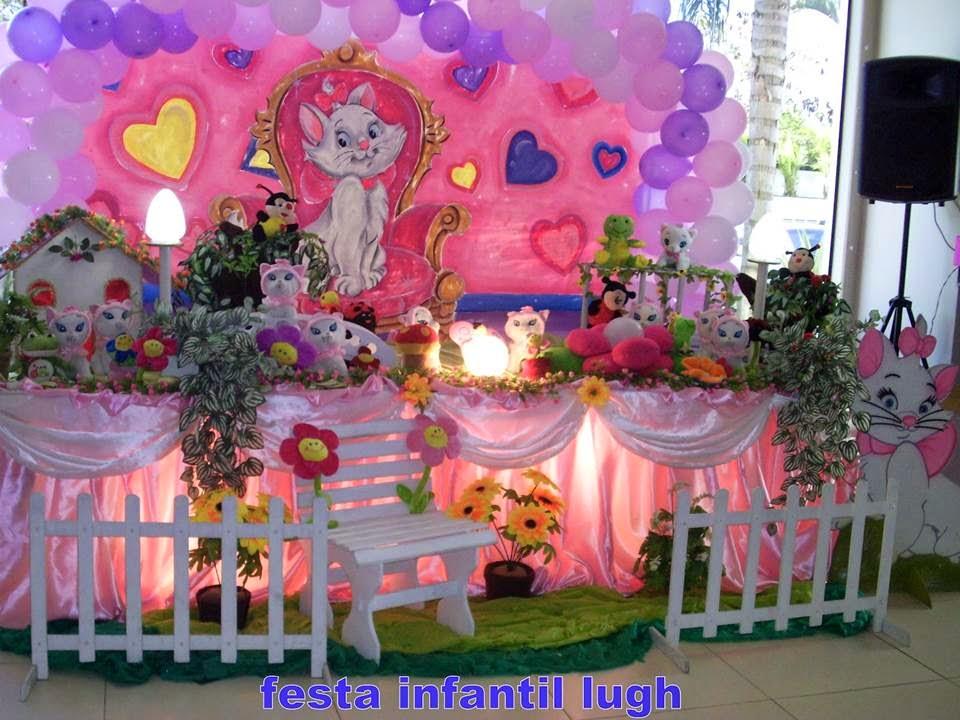 Tema da Gata Marie para decoração de festa de aniversário infantil