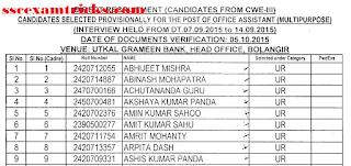Utkal Gramin Bank Final Result 2015