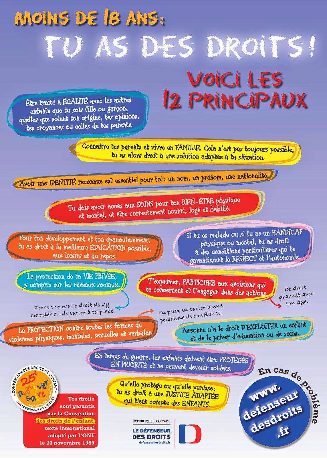 Affiche présentant les 12 principaux droits de l'enfant à télécharger