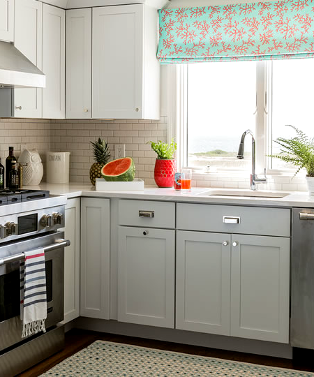 Roman Shades Kitchen With Coral Print