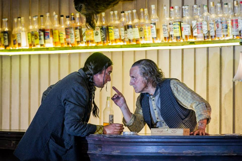 Jimmy Holliday as Billy Jackrabbit and Graham Clark as Nick the bartender in The Girl of the Golden West © Robert Workman