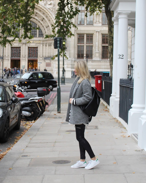 backpack, london, streetstyle london, grey coat, isabel marant coat, iro coat, stan smith trainers