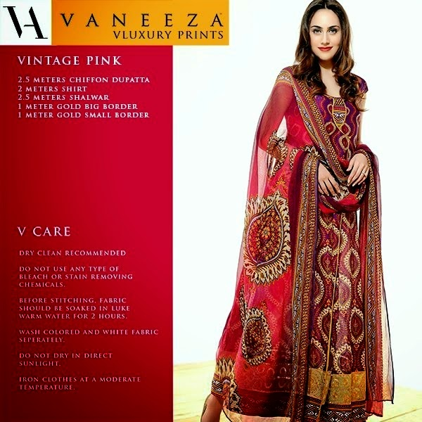 Vaneeza V Lawn Collection 2014