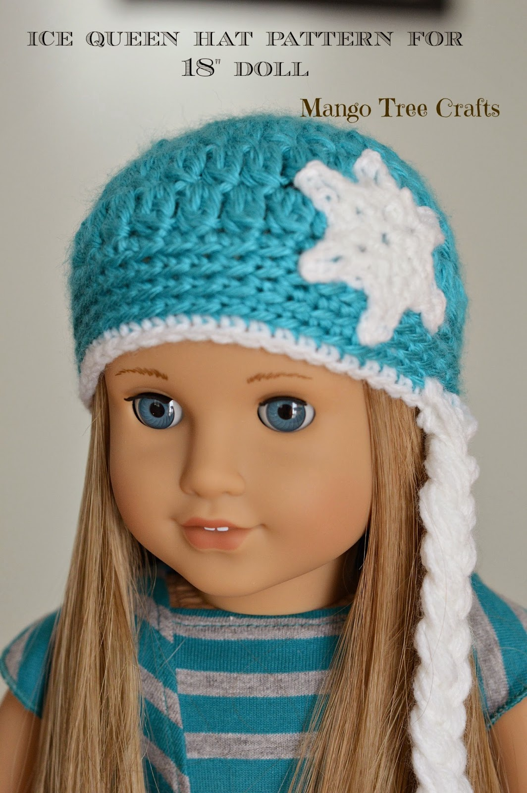 Crochet Hat Pattern American Girl Doll : Mango Tree Crafts: Ice Queen Crochet Hat Pattern for 18 ...
