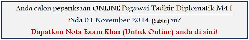 Contoh Soalan Peperiksaan Online Pegawai Tadbir Diplomatik 2014
