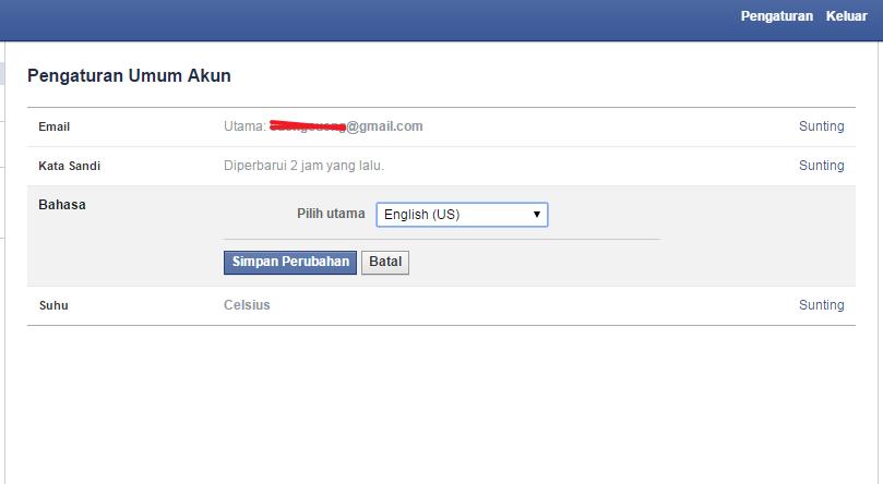 Merubah Bahasa Facebook