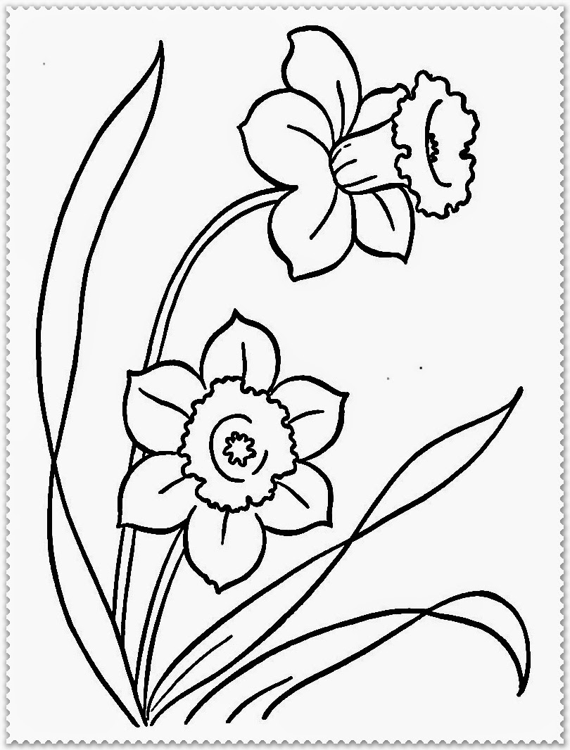 spring flower printable kids coloring pages