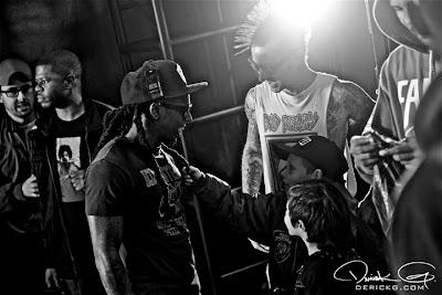 Imagen de Lil Wayne, Travis Barker y sus hijos en el rodaje del video de Can A Drummer Get Some ? del nuevo disco de Travis Barker llamado Give the drummer some