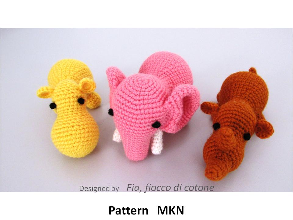 Crochet Doll Animals : Fia, fiocco di cotone: MKN - Musi, Kala, Naoxox