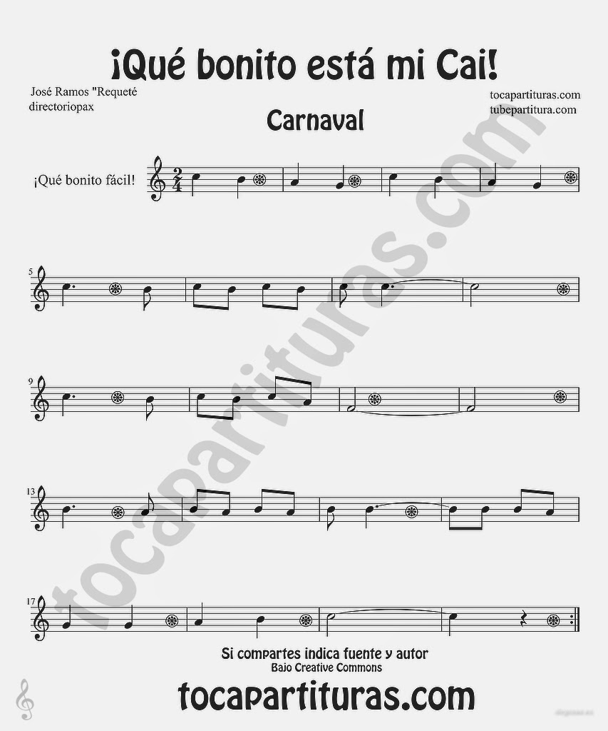 Tubescore Que bonito esta mi Cai Easy Sheet Music in G Key Carnival Folk Music