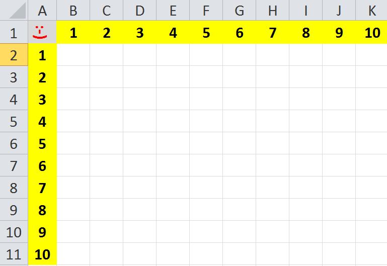 Excel - Übungsaufgabe 1x1 Vorbereitung