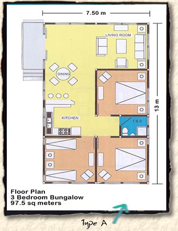 Sambolo beach bungalow floor plans for 3 bedroom bungalow plans