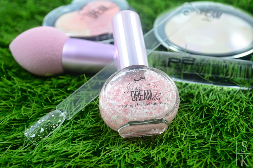 p2 - Just dream-like spring's fav nail top coat 011 peach delight dots
