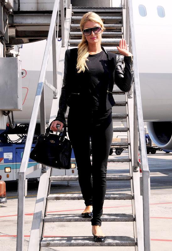 Paris Hilton in black outfit at Ataturk Airport in Istanbul