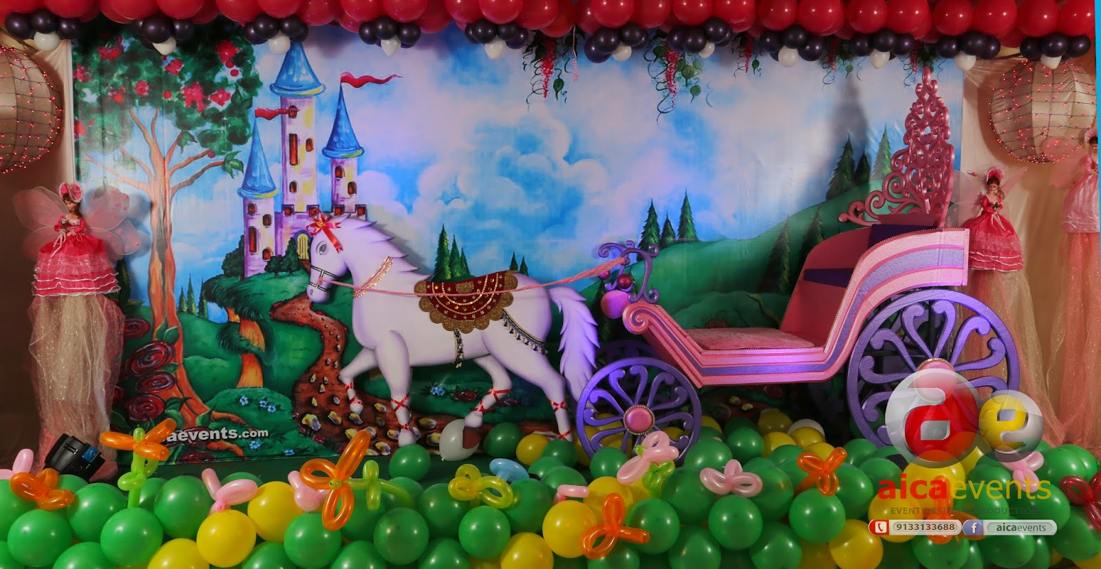 Aicaevents India Princess and Chariot themed Birthday Decorations
