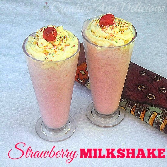 Strawberry Milkshake ~ Always a favorite ! Fresh Strawberries makes this an extra thick shake #Milkshakes #StrawberryRecipe #Drinks