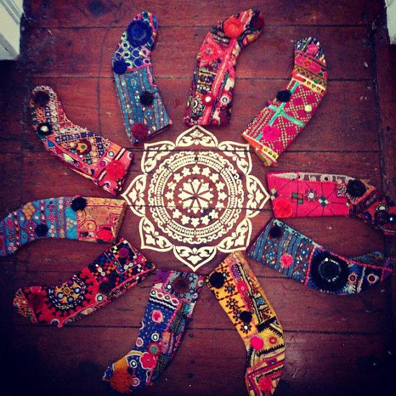 bohemian hippie Christmas stockings, vintage ethnic textiles