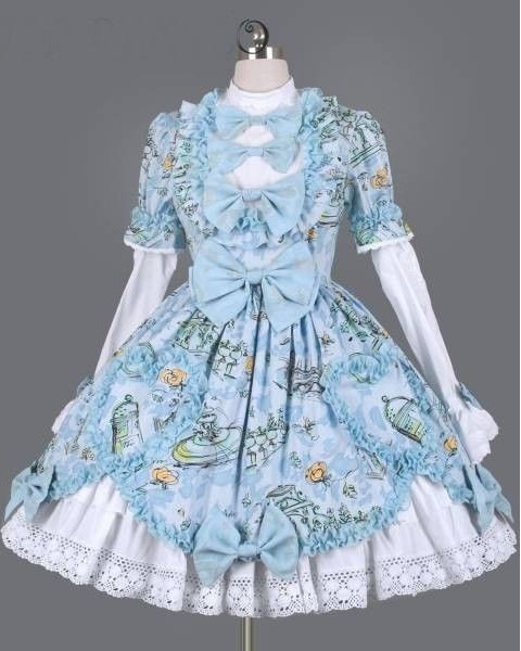 blue-and-white-printed-bow-and-ruffle-fashion floral rococo lolita clothing
