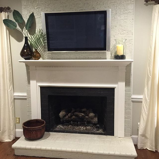 Diy - Painted Brick Fireplace