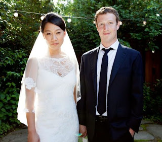 Priscilla Chan and Mark Zuckerberg on the day of marriage