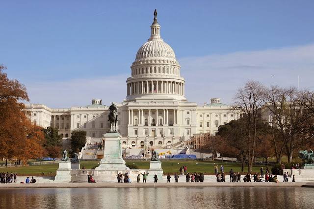 The rear view of United States Capitol in Washington DC, USA