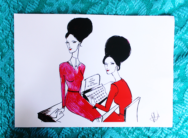 dom and ink illustrations orla kiely girls with typewriter