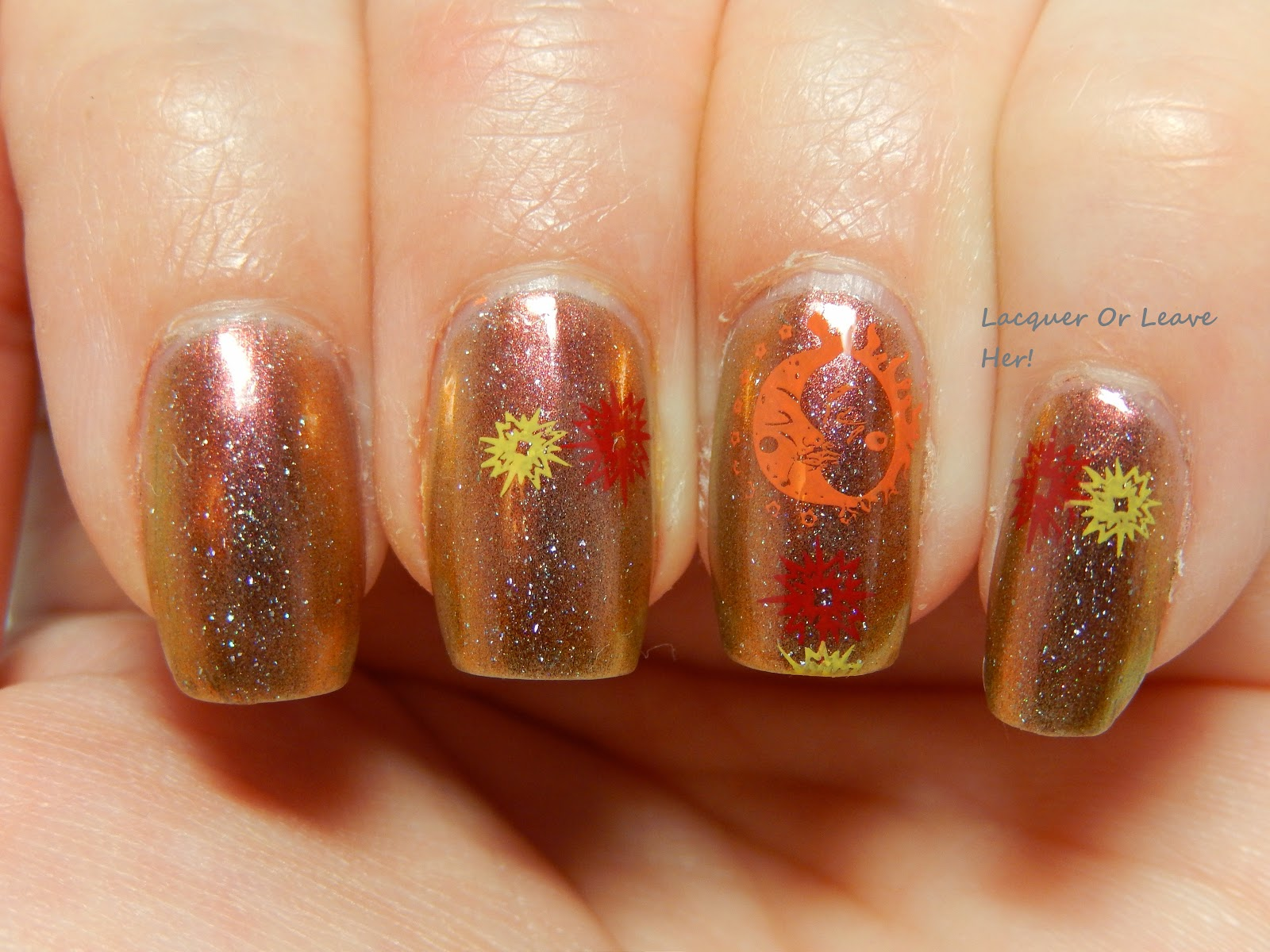 solar flare nail art