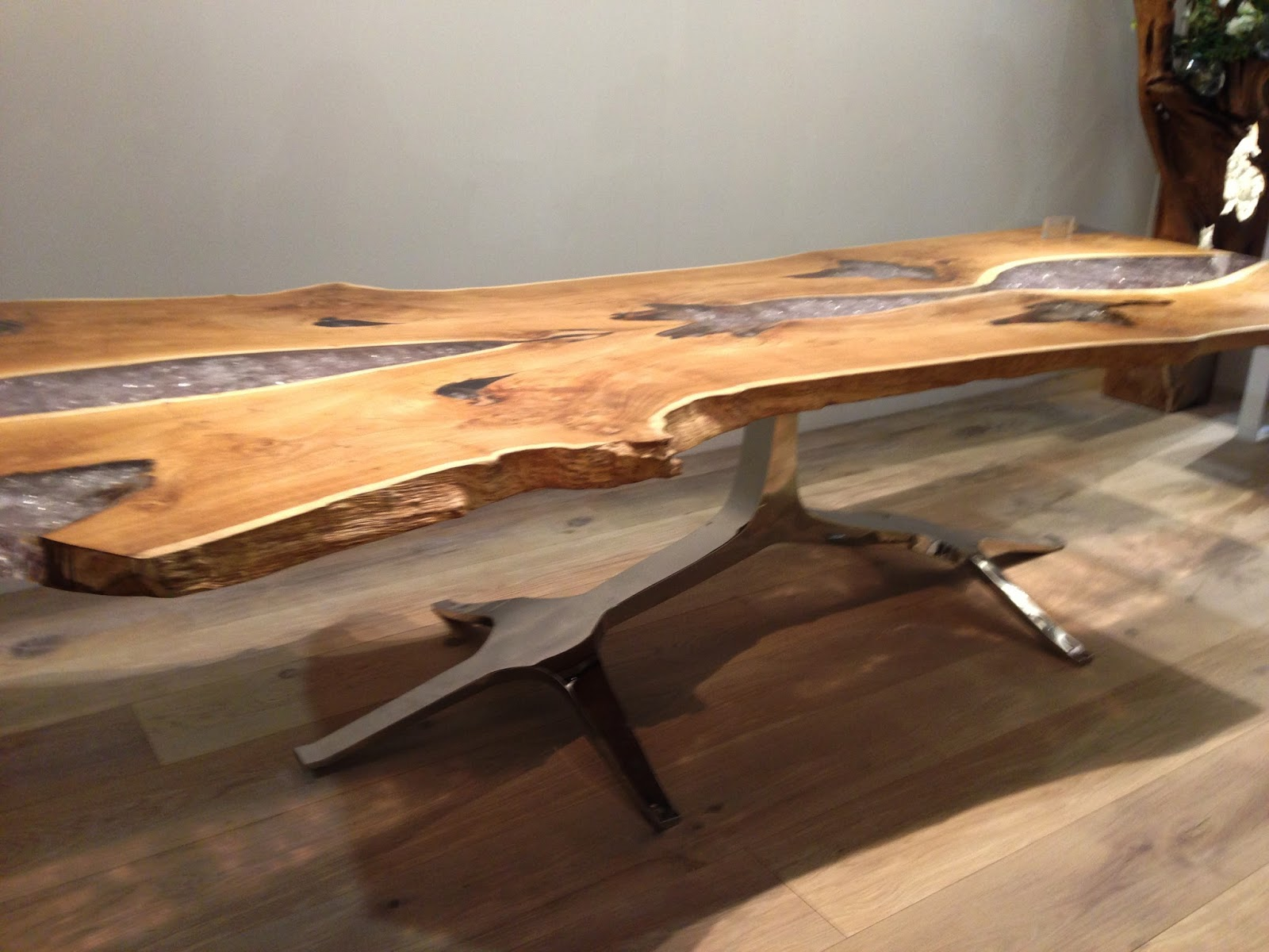 Sliced Log Coffee Table Table Desk Resin And Wood Thick Slab Chrome Steel Legs Modern Ebay