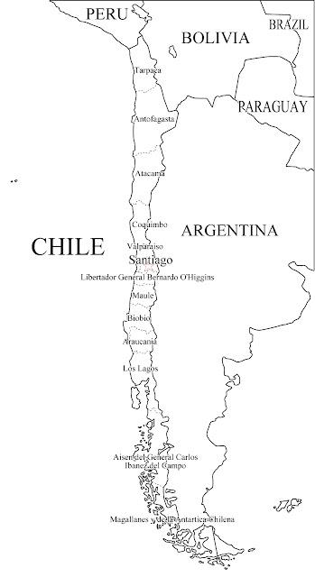 mapa de chile para colorear