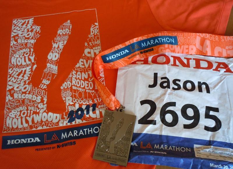 LA Marathon medal and t-shirt 2011