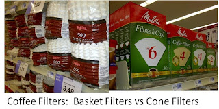 store display of basket and cone coffee filters