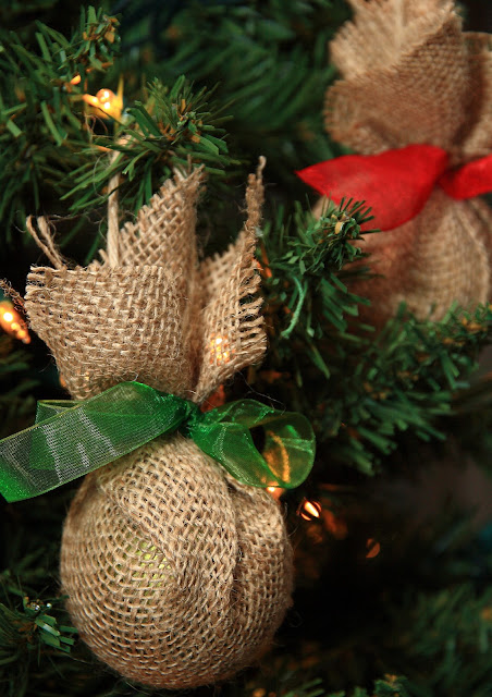 Upcycled Burlap Ornaments