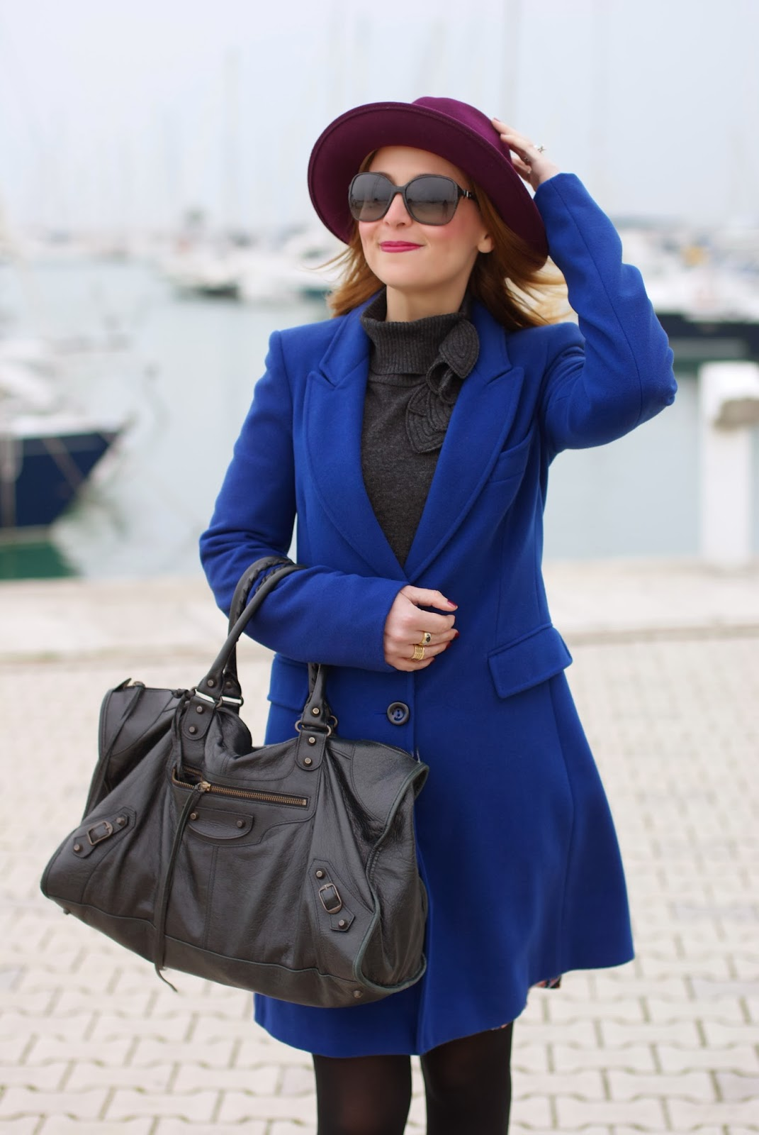 Paola Frani cappotto, Ecua-Andino hat, cobalt blue coat, Balenciaga work bag, Fashion and Cookies, fashion blogger