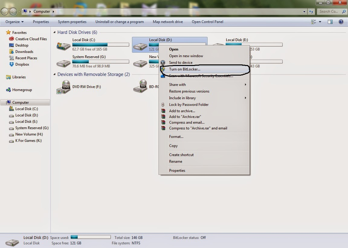 how to set password in windows 7 drive