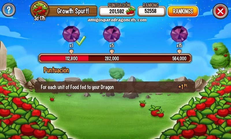 de la tabla del evento temporal de comida de dragon city mobile