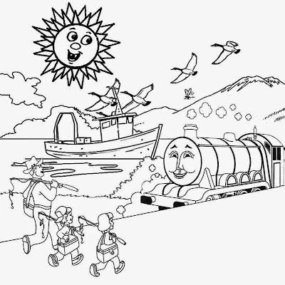 bright sunny seaside summertime vacation train trip easy color print out coloring pages for children