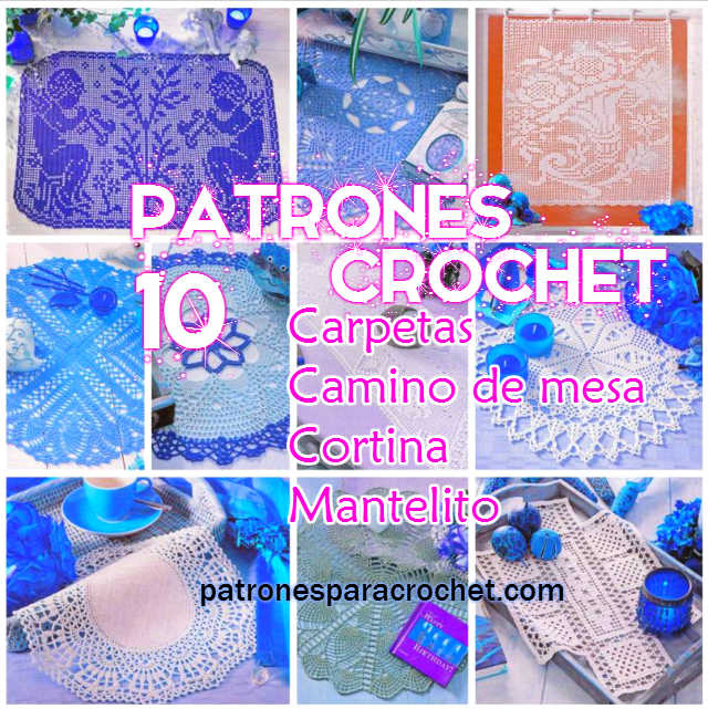 10 Patrones de carpetas, caminos de mesa y cortinas para tejer con ...
