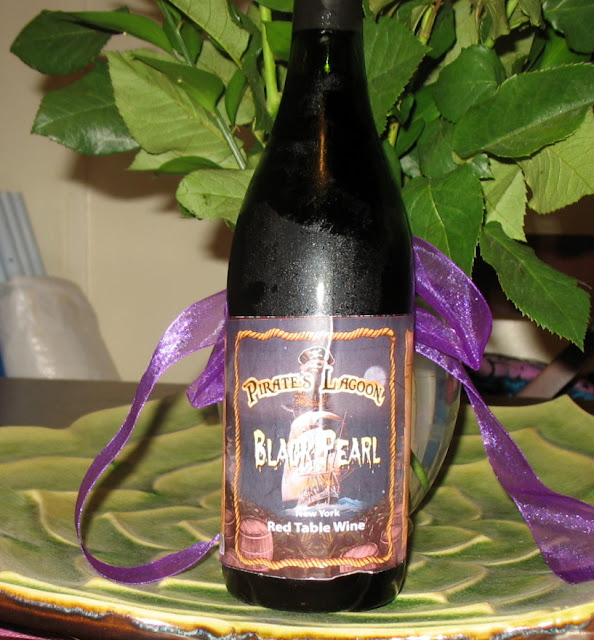 Poorly made pirate's lagoon black pearl wine