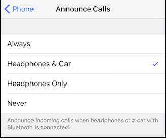 make siri announce caller name