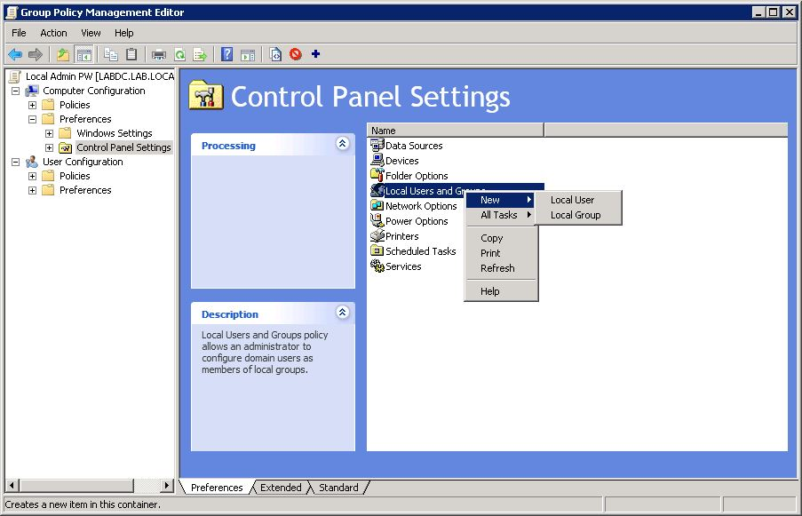 local group policy editor power settings