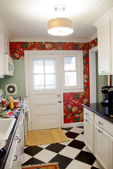 DIY Fabric Wallpaper In My Kitchen