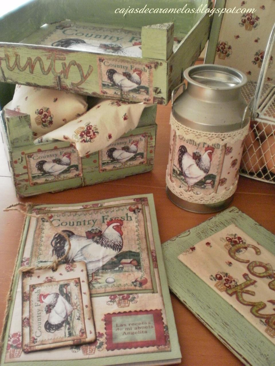 Complementos para cocina r stica con gallinas cajas - Cajas para cocina ...