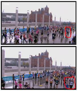 Spotting me on the television at the Cardiff Half Marathon