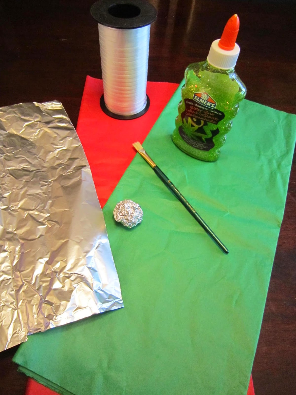 Foil and tissue Christmas ornament craft