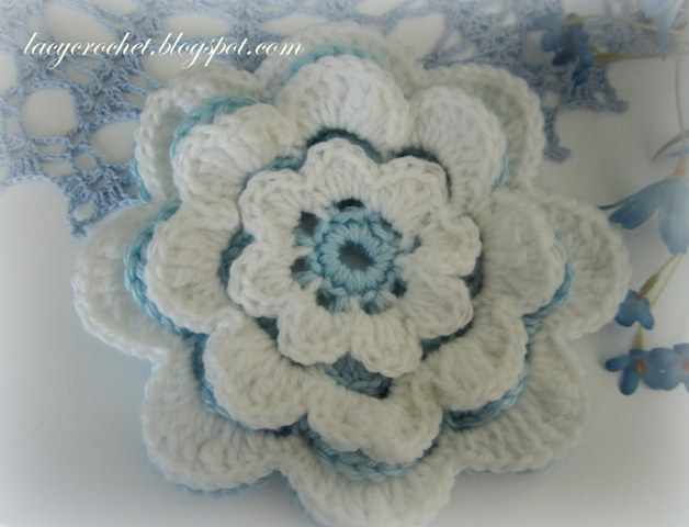 Lacy Crochet Layered Crochet Flower