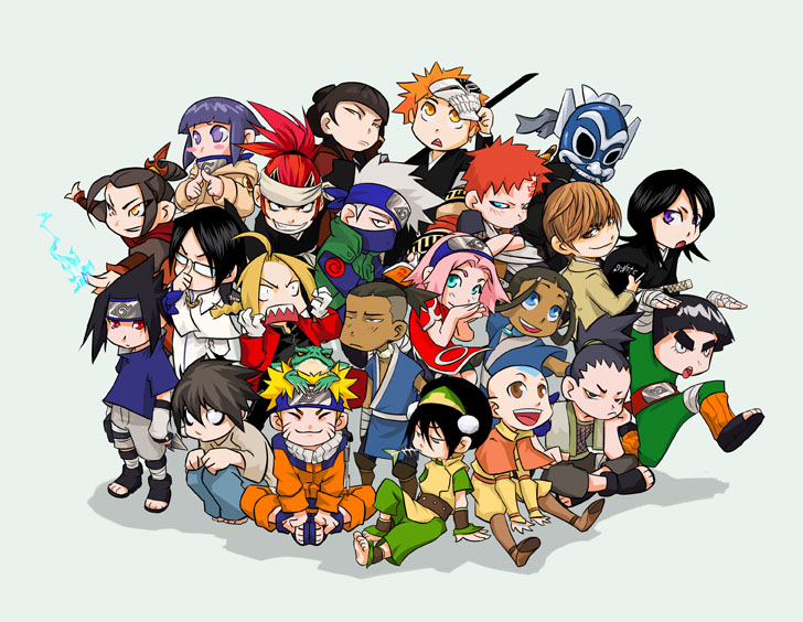 3 Cartoon Characters Always Together : Anime cartoon chibi