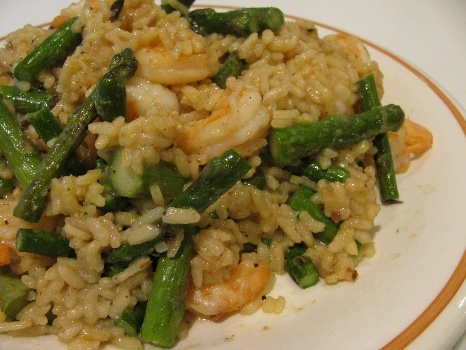 ... spring arborio rice roasted shrimp and asparagus and a hint of lemon